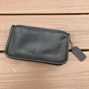 Coach Vintage Black Leather Cosmetic Bag